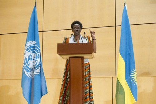Esther Mujawayo, Survivor of the 1994 genocide in Rwanda addresses during the Ceremony of Observance of the International day of Reflection on the 1994 Genocide in Rwanda, Palais des Nations. Wednesday 9 April 2014. Photo by Violaine Martin