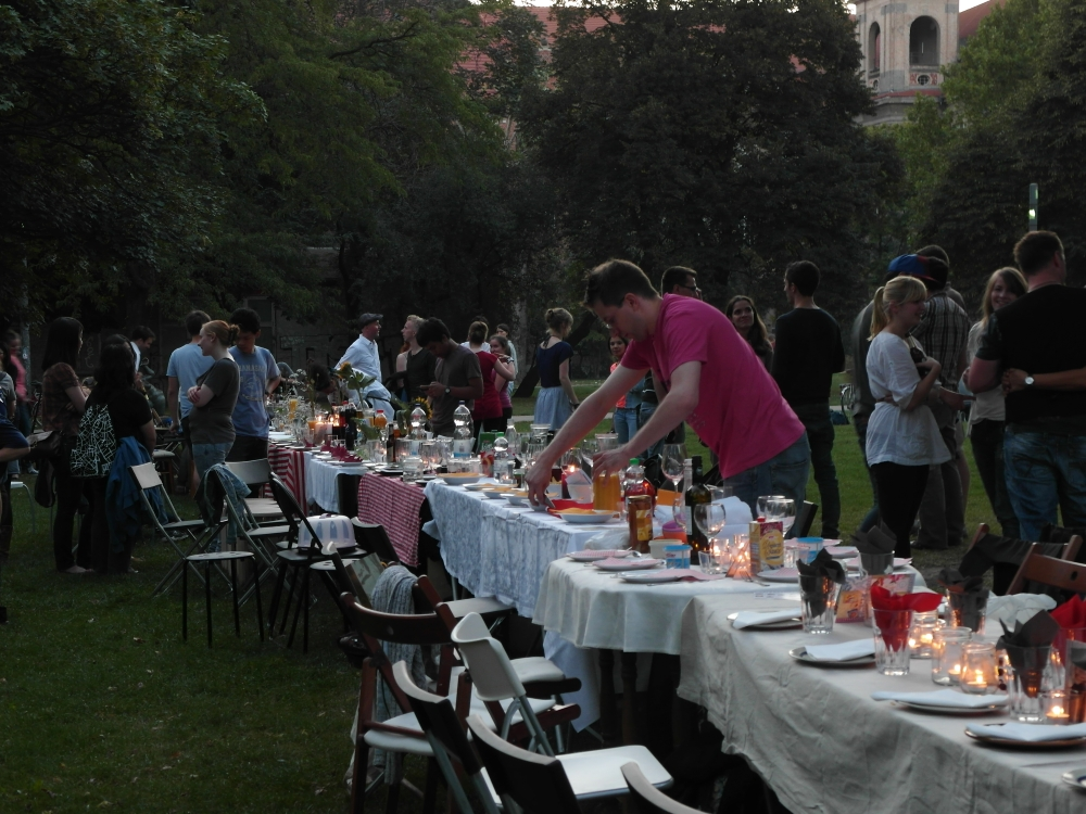 Communal diner of the Berlin Connect church in Montbijou Park, Berlin